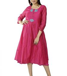 Pink Embroidered Chanderi Ethnic Kurti With Embroidery Work