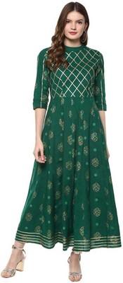Women Printed Rayon Anarkali Royal Kurta  (Green)