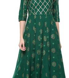 Women Printed Rayon Anarkali Royal Kurta  (Green)