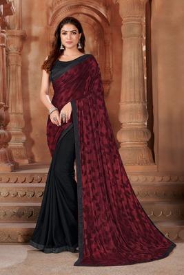 Maroon printed lycra saree