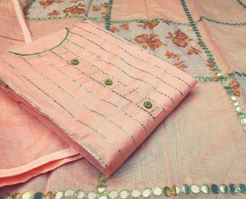 Peach stripes print chanderi salwar