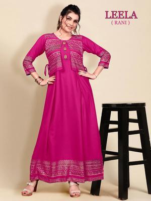 Rani-pink printed rayon long-kurtis