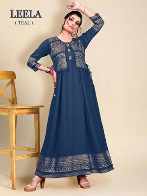 Blue printed rayon long-kurtis