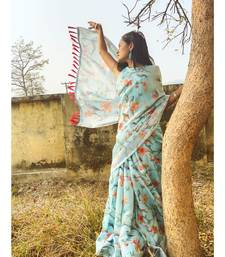 Blue faux_linen linen saree