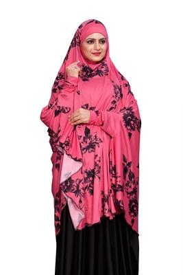 JSDC Namazi Wear Women Spun Lycra Fabric Islamic Printed Arabic Hijab Dress
