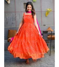 Orange bandhani print anarkali dress with dupatta