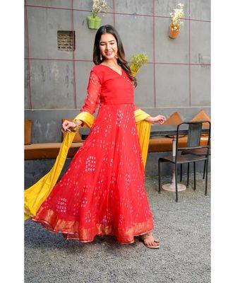 Red bandhani angrakha set