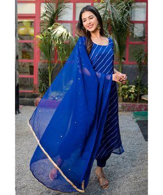 Blue leheriya kurta afghani salwar dupatta set