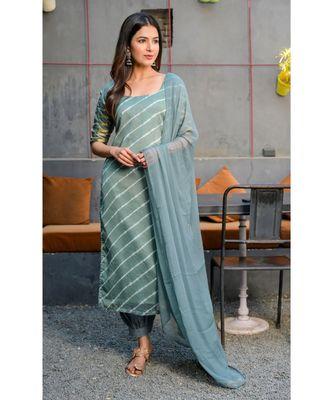 Grey leheriya kurta with salwar & dupatta set