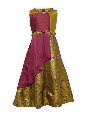 brown polyester kids girl gowns