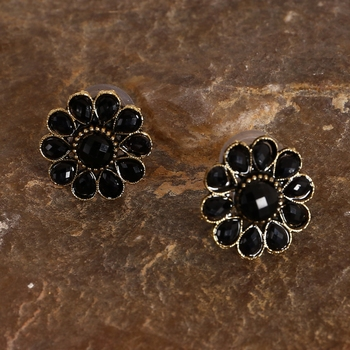 Round Black and Golden Pearl Studs