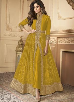 Yellow Golden Slit Style Pants Suit