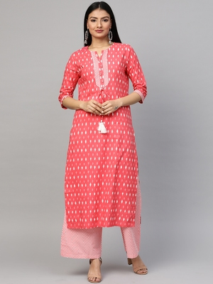 Red printed cotton ethnic-kurtis