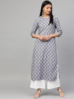 Grey printed viscose rayon ethnic-kurtis
