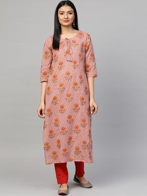 Mauve printed cotton ethnic-kurtis