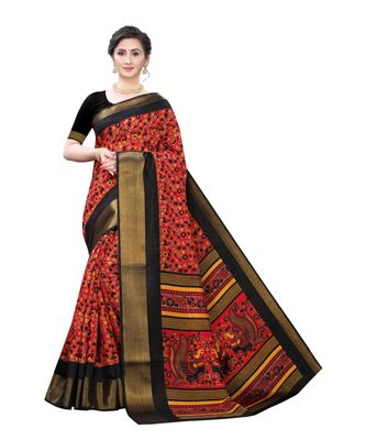 Red Art Silk Floral Printed Saree With Blouse
