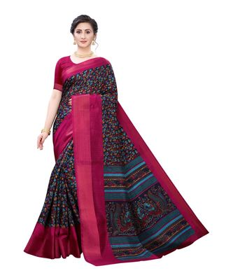 Black Art Silk Floral Printed Saree With Blouse