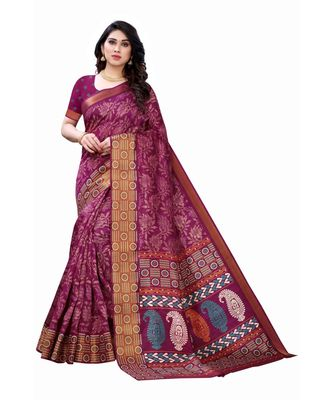 Purple Art Silk Floral Printed Saree With Blouse
