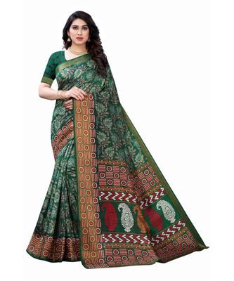 Green Art Silk Floral Printed Saree With Blouse