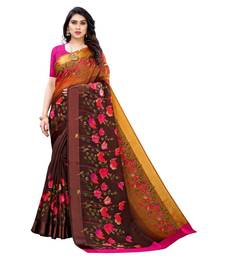 Brown Art Silk Floral Printed Saree With Blouse