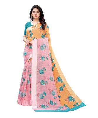 Orange & Pink Art Silk Floral Print Saree With Blouse