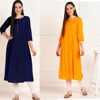 Solid Cotton Anarkali Kurti Combo