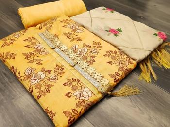 Mustard floral print chanderi salwar