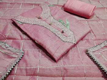 Light-pink gotta patti chanderi salwar