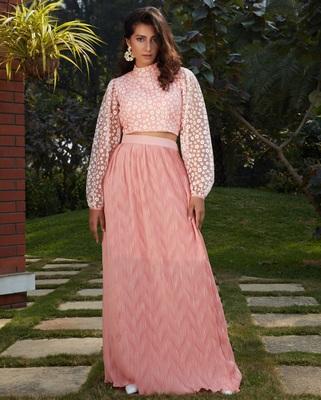 Pink plain polyester Semi Stitched bridal lehenga