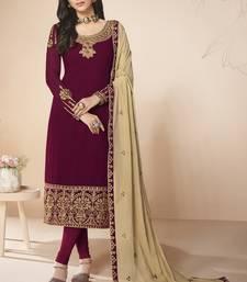 Magenta Color Embroidered Salwar Kameez