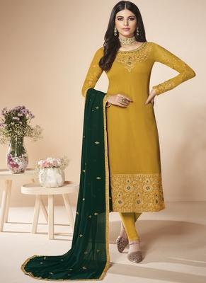 Yellow Embroidery Real Georgette Semistich Dull Santoon Traditional Wear  Salwar Kameez.