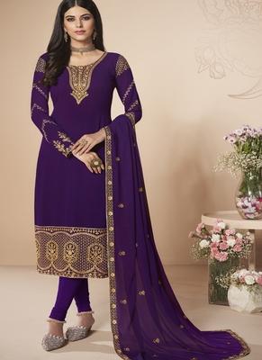 Violet Blue Embroidered Salwar Kameez