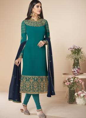 Teal blue Embroidered Salwar Kameez