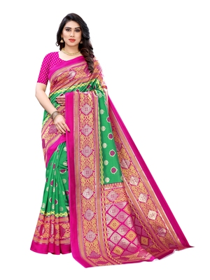 Green printed poly silk saree with blouse
