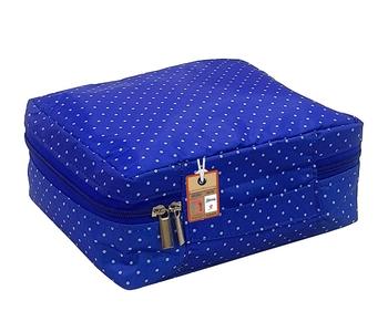 atorakushon ® Makeup Storage Box Cosmetic Vanity Necklace Travelling Wardrobe Organizer Jewellery Pouch for Women (Blue)