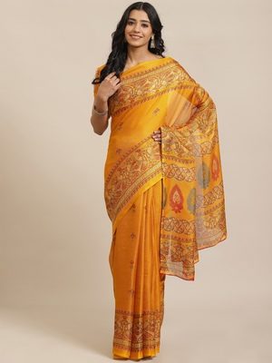 Mustard printed jute saree with blouse