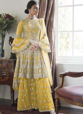 Yellow Embroidery Butterfly Net semistich Designer Dull Santoon Sharara.