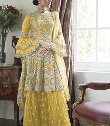 Yellow Embroidery Butterfly Net semistich Designer Dull Santoon Sharara.