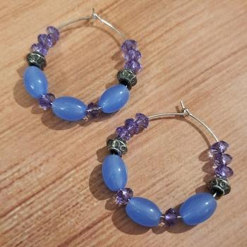 Purple agate hoops