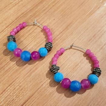 Pink agate hoops