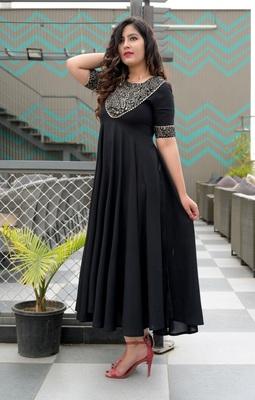 Black printed viscose rayon ethnic-kurtis