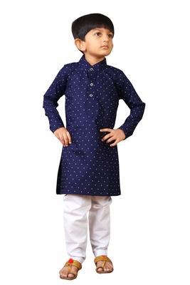 Kids Blue Kurta Pyjama Set For Boys