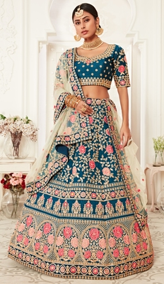 Blue thread embroidery silk semi stitched Wedding lehenga