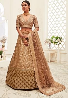 Brown thread embroidery silk semi stitched Wedding lehenga