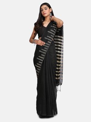Black Stribe Work Cotton Silk Handloom Saree With Blouse