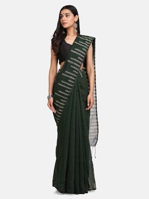 Bottle Green Stribe Work Cotton Silk Handloom Saree With Blouse