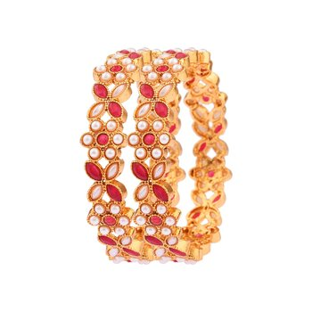 Red pearl bangles-and-bracelets