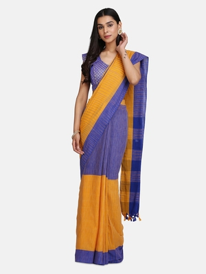 Blue Hand Weaven Khadi Cotton  daily Wear Handloom Saree With Blouse