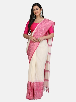 White Weaving Work Pure Cotton Temple Design Handloom saree With blouse