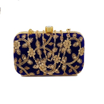 Shoptory India Women's Hand Embroidered Casual Partywear Clutch - Blue